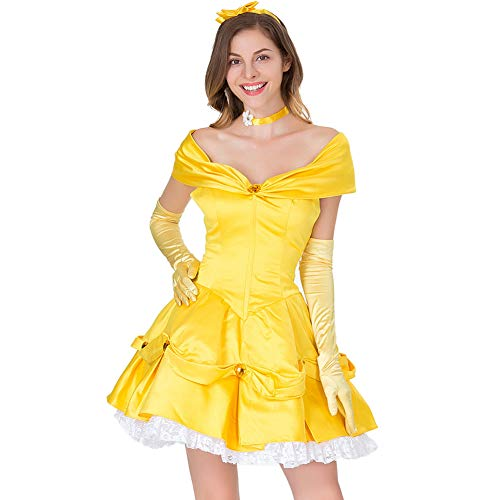 CHIYEEE Damen Märchenprinzessin Kleid Queen Fancy Short Dress Halloween Partykostüm Gelb XL