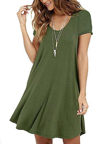 POSESHE Damen Mini Kleid Rundhals Kurz / Langarm Stretch Basic Kleider(Size 36-42) (XL / (EU 42), 2Armeegrün) (Langarm Mini-kleid Xl)
