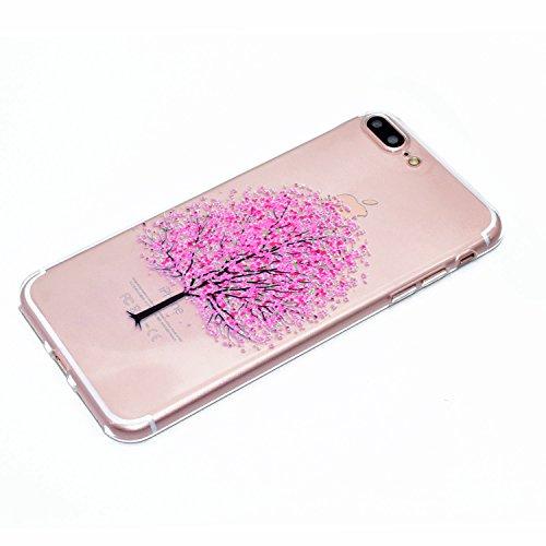iPhone 7 Plus Hülle , iPhone 7 Plus Ultradünne Schutzhülle , E-Lush Weiche Flexible Gel Silikon TPU Handyhülle für Apple iPhone 7 Plus (5.5 zoll) Ultra Chic Dünn Transparent Handytasche Anti-stoß Bump Kirschbaum