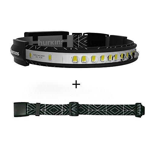 HURKINS 180 degrés Lampe frontale puissante professionnel LED rechargeable USB, lampe, outillage,activité manuelle, électricien, camping (ceinture incluse)