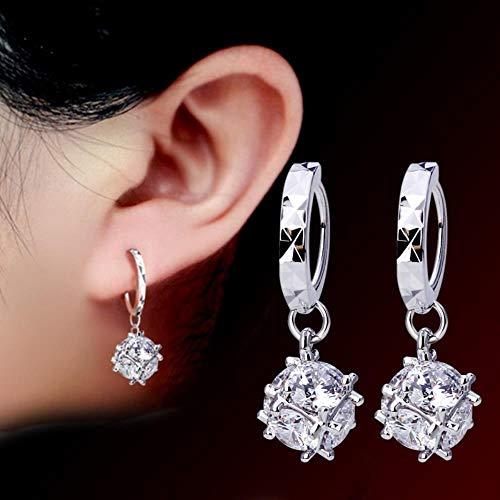 KFYU Quadrat Silber Ohrringe Würfel geformt Ohrringe Ohr weiblich