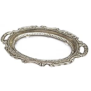 White Metal Decorative Serving Tray
