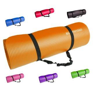 Rutschfeste Yogamatte von KG   PHYSIO - 12 mm dicke Premium-Trainingsmatte fürs Fitnessstudio, Pilates oder zuhause mit Schultertragegurt (auf der Innenseite der Matte) 183cm x 60cm x (übungen Fürs Fitnessstudio)