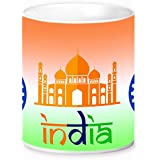 Blazejets Multicolor Ceramic Coffee Mug 350 Ml Gifts For Brother, Sister, Friends, Father, Mother, Grand Father, Grand Mother, Parents On Independence Day Red Fort Printed Mug