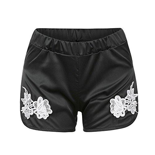 Vectry Damen Hosen Shorts Sommer Hotpants Bermudas Jeans Leggings Strand Laufgymnastik Yoga der Sporthosen Schlafanzughosen Lässige Elastische Taillenband verschüttete Applique (S, Schwarz)