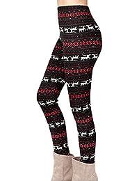 9745e048b9555 Yidarton Legging Femme Pantalon Imprimé Renne Flocon de Neige Noël