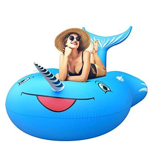 FEMOR FS010/FS011 Riesiges Aufblasbar Einhorn Schwimmtier, Einhorn Pool, Luftmatratzen, Aufblasbar schwimmen Floß, Schwebebett für 1-3 Personen, Insel für Pool Luftmatratze Wasserspielzeug (XL)