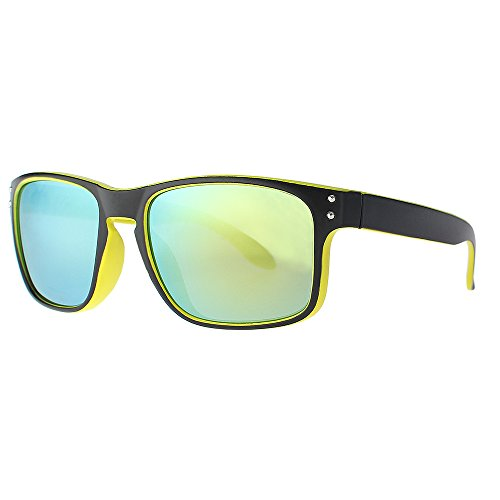 DISTRESSED Superior Sonnenbrille Sportbrille verspiegelt oder getönt - viele Farben (sw/gelb-gold-verspiegelt)