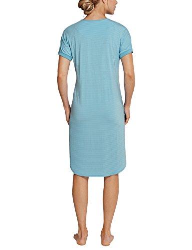 Schiesser Long Life Softness Nachthemd 1/4 Arm, 100cm, Chemise de Nuit / Nuisette Femme Blau (aquarium 813)