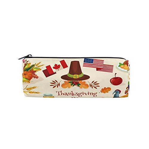 Estuche portatodo cilíndrico con cremallera, ideal para regalar en día de Acción de Gracias, bolígrafo de papelería y maquillaje