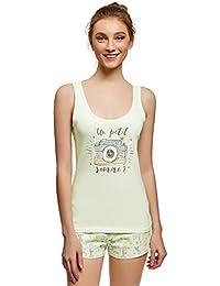 oodji Ultra Mujer Pijama Estampado con Pantalón Corto