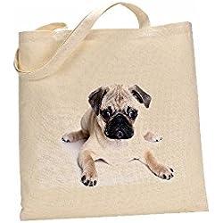 Bolsa de algodón, diseño de perro carlino