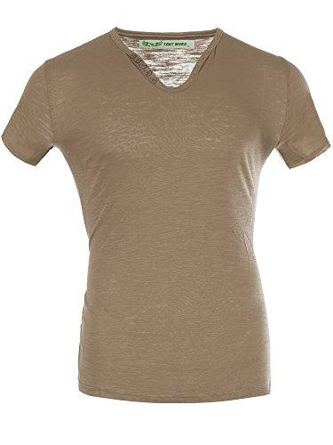 M447 TONY MORO Herren Basic Shirt T-Shirt Kurzarm V-Neck Clubwear V-Ausschnitt Beige