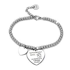Idea Regalo - Beloved Braccialetto da donna, bracciale in acciaio emozionale - frasi, pensieri, parole con charms - ciondolo pendente - misura regolabile - incisione - argento (MOD 10)