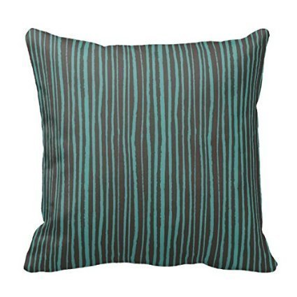 ZKHTO Personalized Throw Pillowcase Painted Teal Stripes on Dark Brown,Cover Size:18 x 18 Inch(45cm x (Dark Fairy Halloween Ideen)