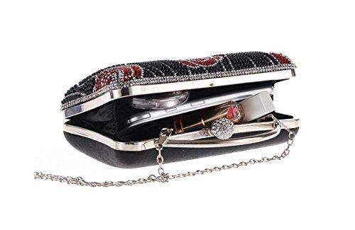 Gshga Fashion Bags Pochette Da Sera Borsa Tracolla Diagonale Catena Pacco Pacco, Argento Nero