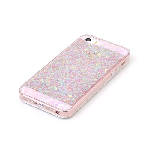 iPhone SE Hülle,iPhone 5S Hülle,iPhone 5 Hülle,SainCat iPhone SE/5S/5 Silikon Hülle Tasche Handyhülle Cute Bear Muster Bling Diamant Schutzhülle Transparent TPU Gel Case Bumper Weiche Crystal Kirstall Farbe Flash-Chip Rosa