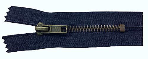 Reißverschluß Jeans 12 cm dunkel blau antik (12-reißverschluss-blau)