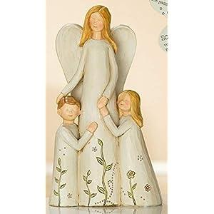 Gilde Figur Engel mit 2 Kindern Mutmacher beige