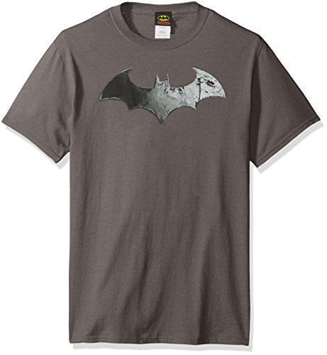 Trevco Arkham City-Bat Logo - Short Sleeve Adult 18-1 Tee - Charcoal, Small