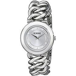 Versus Damen-Armbanduhr 38mm Armband Edelstahl Gehäuse + Quarz Zifferblatt Silber Analog SOE010014