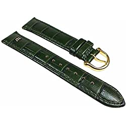 Maurice Lacroix Replacement Watch Strap Calf Leather Croc Finish Pine Green 24495G Bridge Width: 15mm
