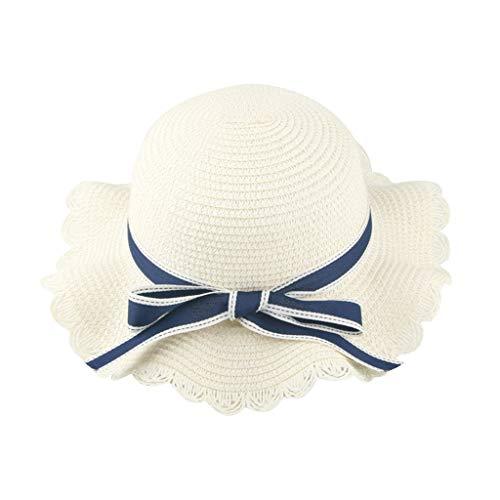 ut Sonnenhut Sommerhut Mädchen Manuell Band Atmungsaktiv Sonnencreme Hut Doppelschicht Outdoor Babymütze Sommer elegant Strandhut (Weiß,50-54cm ()