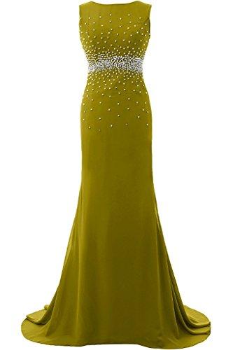 Sunvary Elegant Rund Mermaid Chiffon Lang Armlos Perlen Pailette 2016 Neu Abendkleider Mutterkleider Partykleid Oilgruen
