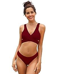 SHEKINI Damen Zweiteiliger Bikini Set Push Up Pads Badeanzug Crossover Schwarz Oberteil Triangel Strandmode Sportlich Bademode für Frauen