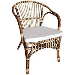 OKAFFAREFATTO MADDALONI Silla-sillón de Bambú Natural con cojín montada