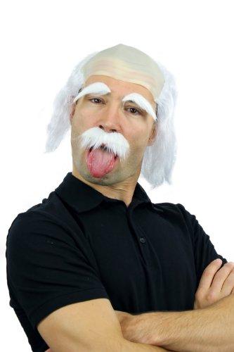 Mad Kostüm Scientist - WIG ME UP - Fasching Karneval Halloween Perücke Bart Augenbrauen Einstein Opa Alter Kauz Mad Scientist Wissenschaftler 3893 -P68