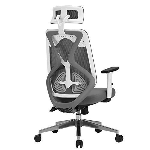 ADHKCF Ergonomische Mesh Swivel Executive Bürostühle Hohe Rückenlehne Hochleistungscomputer Schreibtisch Stuhl Verstellbare Kopf- und Armlehne (Farbe : Weiß) -