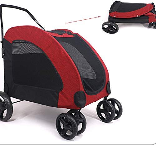 WTTTTW Passeggino per Animali Domestici, 4 Ruote Easy Fold con Fodera Rimovibile Passeggino Portatile Impermeabile con Cestino Portaoggetti per Cane di Grossa T