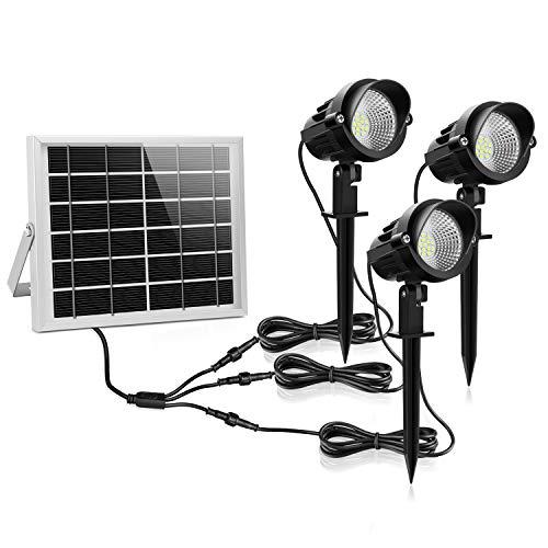 Luz Solar de Exterior, MEIKEE Foco Solar Led Jardín Exterior Blanca Fría, Lámpara Led Solar Exterior 3W, Foco Proyector Solar Exterior Impermeable IP66 para Jardín Césped, Patio, Camino,Terraza