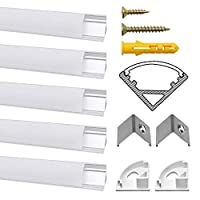 Chesbung 5 Pack Meter/3.3ft V-Shape Led Aluminum Channel, Led Aluminum Profile with Cover. LED Channels and Diffusers with End Caps and Mounting Clips (5 Pack 1m V Milky White Cover)