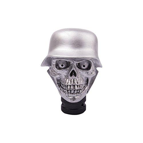 SMKJ Universal Auto Schaltknauf Aluminium Totenkopf Skull Schaltknüppel Shifter Knob für most Manuelles oder automatisches Getriebe Ohne RGA-Silber -