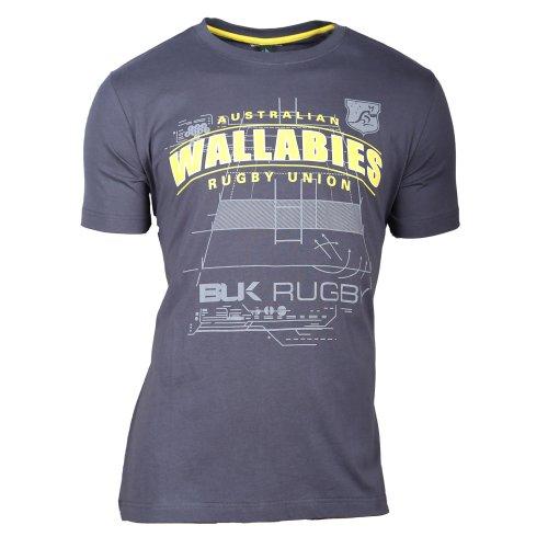 Blk Herren Qantas Wallabies 2013Game Plan Graphic T-Shirt Small grau
