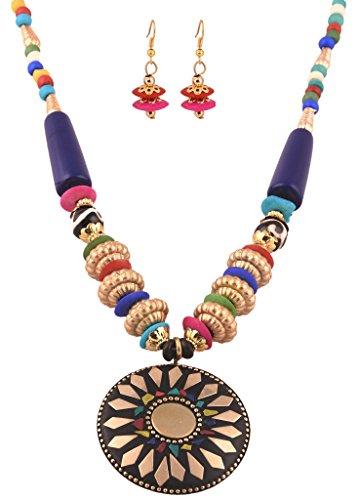 AELO - Beautiful Handmade Long Multicolor Beaded Fashion Pendant Necklace Jewelry For Women/Girls (Costume Jewelry)