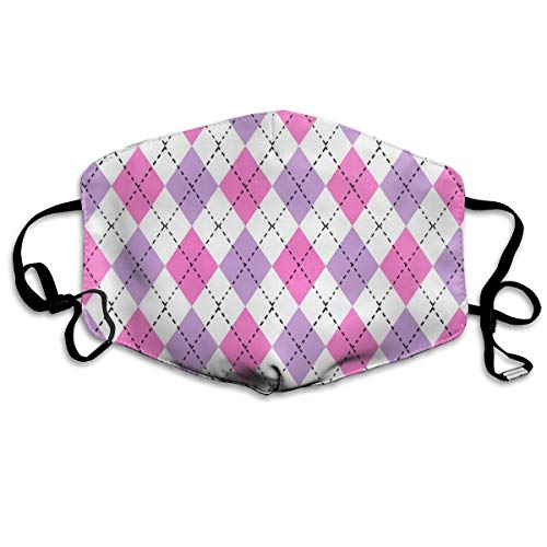 Argyle Valentine's Day, Valentine's Day Argyle, Girls Preppy, Preppy Argyle, Pink and Purple Dust Mask Anti Dust Pollution Mask Washable Polyester Mouth Mask with Adjustable Straps