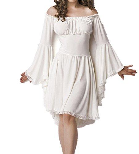Weißes Mittelalter Kleid aus Jersey mit Trompetenärmeln und Carmenausschnitt Spitzenbesatz Mittelalteroutfit mit Raffung Piraten S