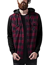 Urban Classics Hooded Checked Flanell Sweat Sleeve Shirt, Camisa para Hombre