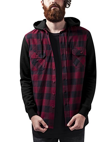 Urban Classics TB513 Herren Regular Fit Freizeit Hemd Hooded Checked Flanell Sweat Sleeve Shirt Mehrfarbig (Blk/Burgundy/Blk 798), Small (Mens Classic Jeans-jacke)