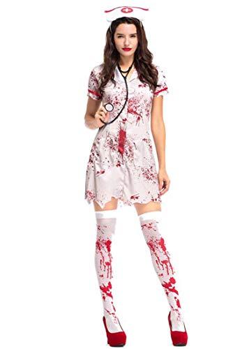 Kostüm Blutige Zombie - Yuyudou Halloween Cosplay Kostüm für Damen, Zombie Krankenschwester Kleid, Blutige Sexy Horror Kostümparty Kostüme,Weiß,L