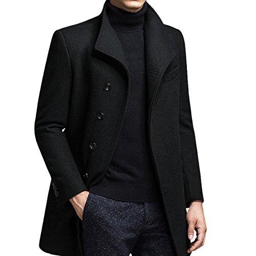 Homme Hiver Manteau Trench-Coat Chaud Slim fit Casual Veste Long en Laine Caban Mode Classique No