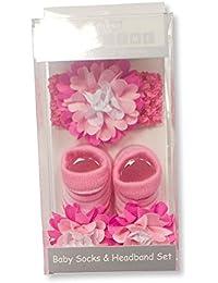 Baby Girls Gift Box Baby Socks & Headband set - FUSHSIA PINK FLOWERS - From 0-12 Months