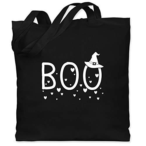 Shirtracer Halloween - Boo mit Herzchen und Hexenhut - weiß - Unisize - Schwarz - WM101 - Stoffbeutel aus Baumwolle Jutebeutel lange - Aktuelle Event Kostüme Ideen
