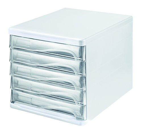 Helit H6129402 Schubladenbox Economy, 5 Fächer, beschriftbar, lichtgrau/glasklar