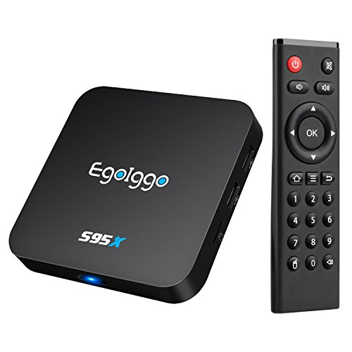 EgoIggo S95X Android TV Box Amlogic S905X Quad Core Android 6.0 Kodi 16.1 (XBMC) 1GB+8GB Wi-Fi 2.4GHz Android Box Noire ( Promotion )