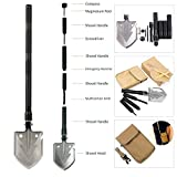 YaeTact Folding Shovel Camping Tool Military Tactical Multifunction Outdoor Survival Spade (Black)