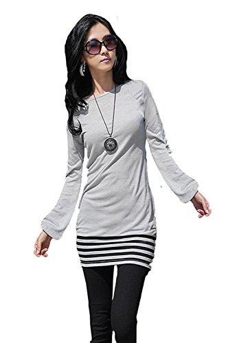 Mississhop 5-78 Damen Minikleid Kleid Tunika mit schwarzen Streifen Japan Style Grau S - Schwarz Japan